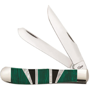 Case Gift Boxed Exotic Green Malachite Trapper Knife #11150