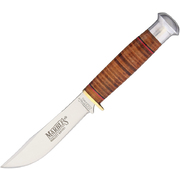 Marbles Stacked Leather Fixed Blade Small Hunter Knife MR302