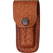 Brown Leather Embossed Basketweave Belt Sheath to Suit 3 - 3.5 Inch Knife