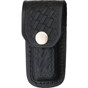 Black Leather Embossed Basketweave Belt Sheath to Suit 3 - 3.5 Inch Knife